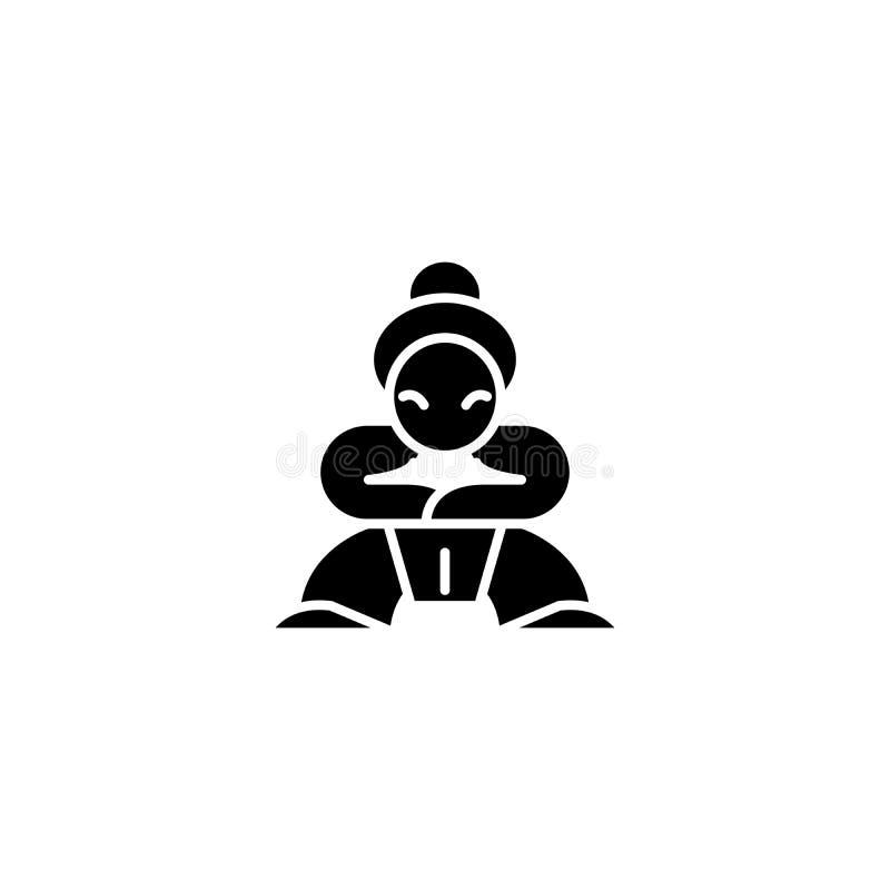 Concept van het samoeraien het zwarte pictogram Samoeraien vlak vectorsymbool, teken, illustratie vector illustratie