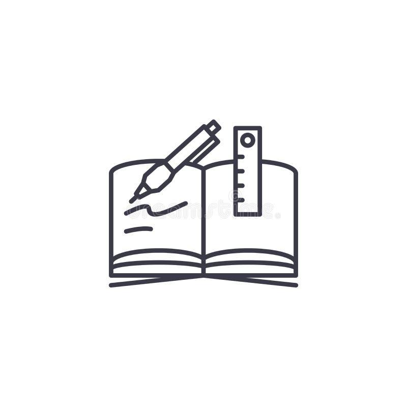 Concept van het schrijven-boek het lineaire pictogram Het vectorteken van de schrijven-boeklijn, symbool, illustratie royalty-vrije illustratie