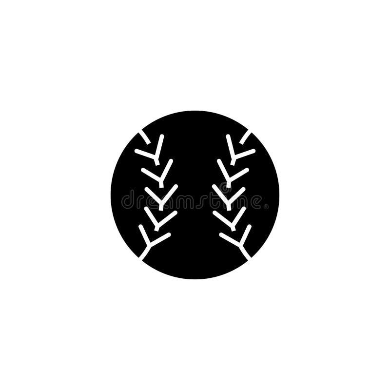 Concept van het Tennisball het zwarte pictogram Tennisball vlak vectorsymbool, teken, illustratie stock illustratie