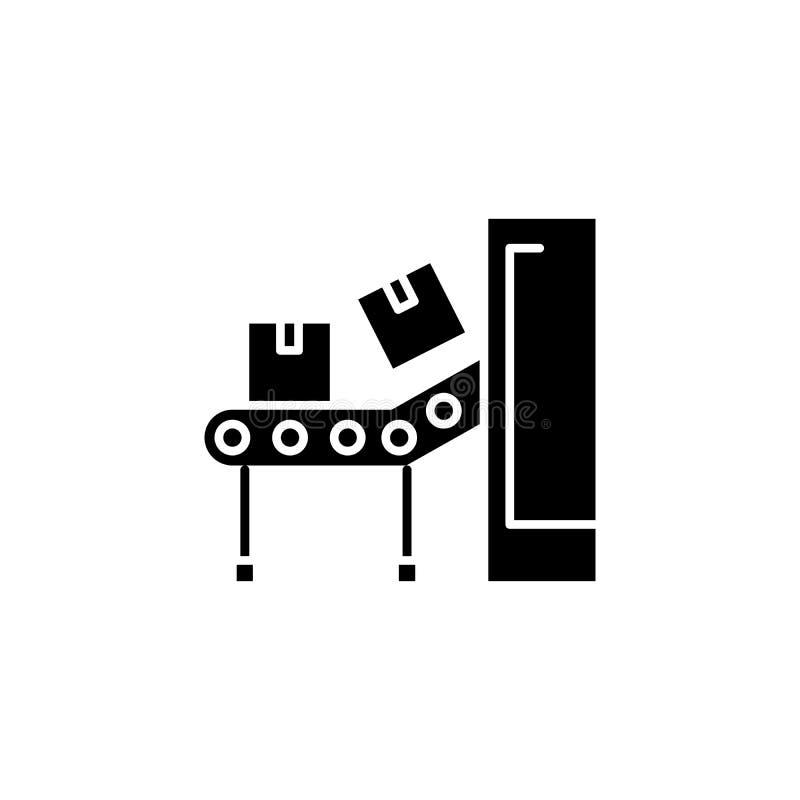 Concept van het transportband het zwarte pictogram Transportband vlak vectorsymbool, teken, illustratie vector illustratie