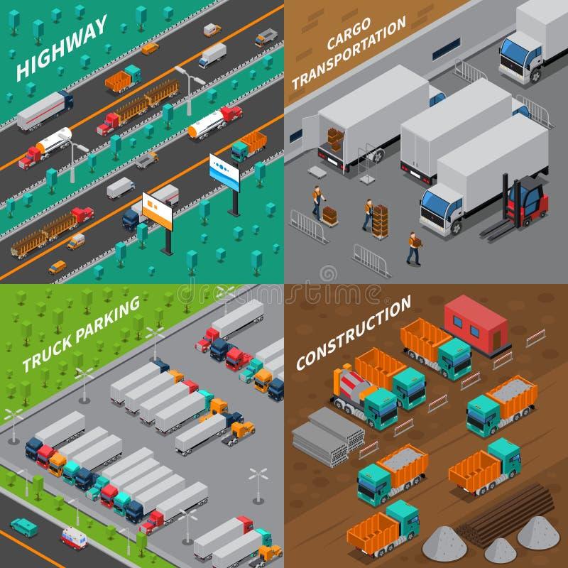 Concept van het vrachtwagens het Isometrische Ontwerp vector illustratie