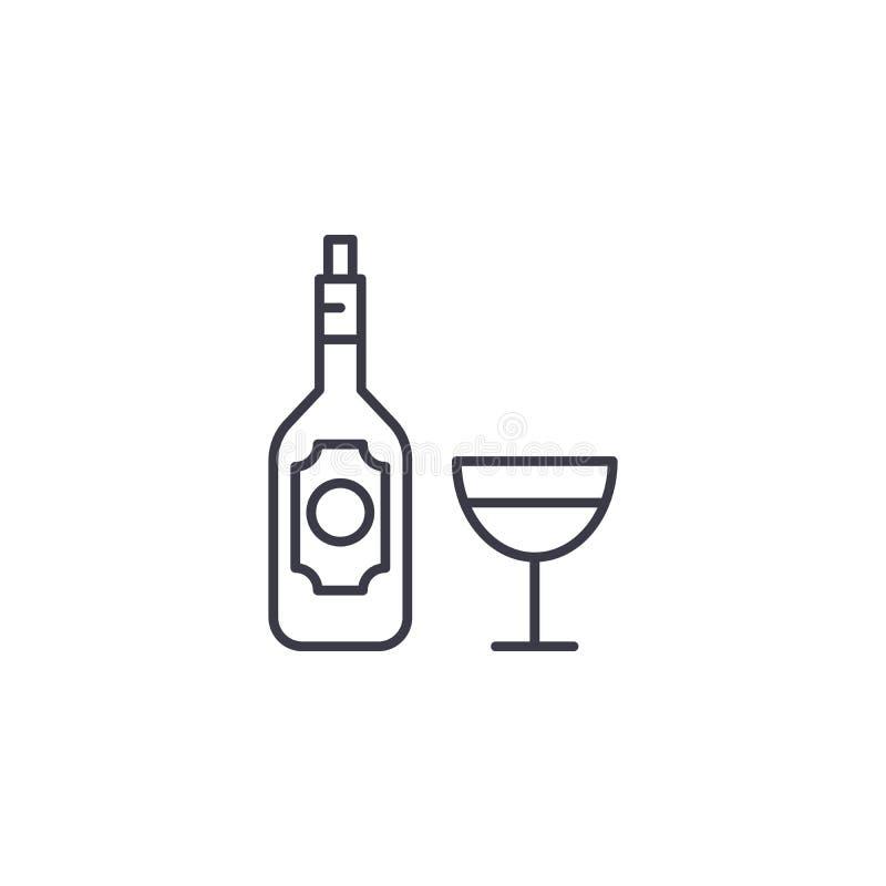 Concept van het wijn het lineaire pictogram Het vectorteken van de wijnlijn, symbool, illustratie vector illustratie