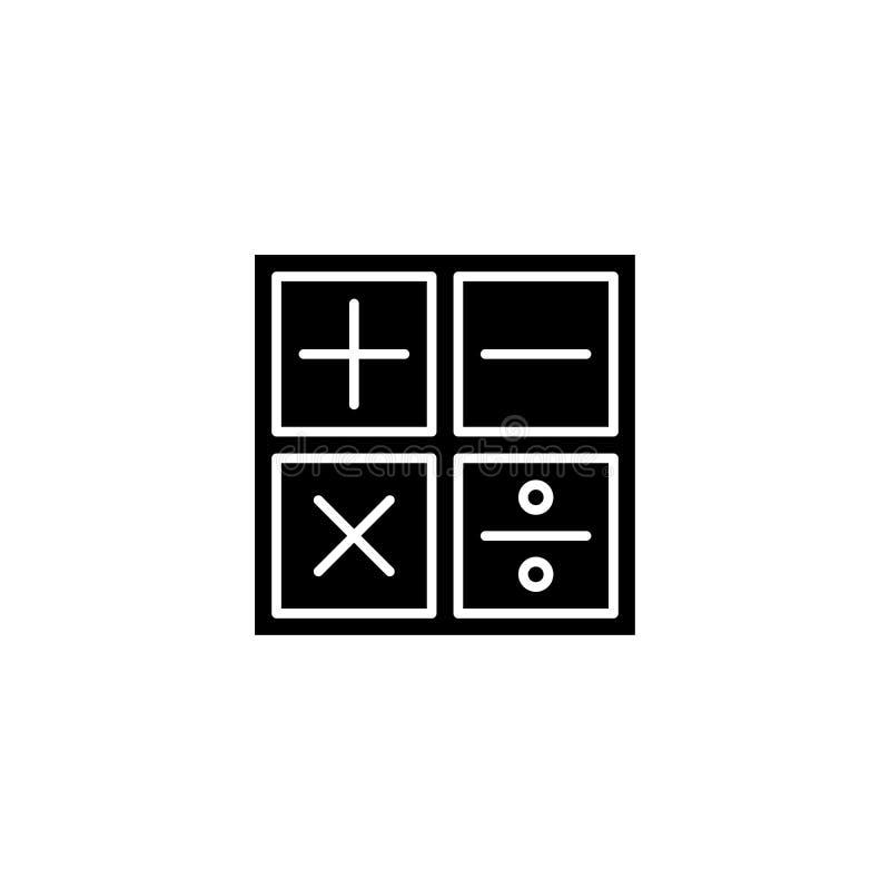 Concept van het wiskunde het zwarte pictogram Wiskunde vlak vectorsymbool, teken, illustratie royalty-vrije illustratie