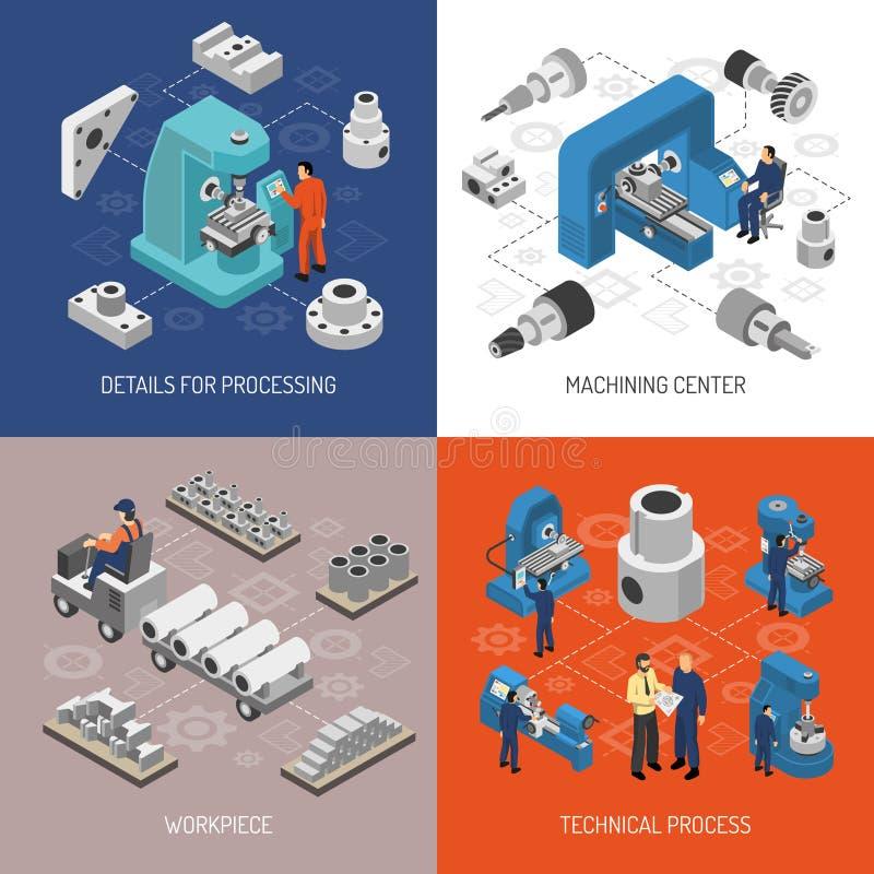 Concept van het zware industrie het Isometrische Ontwerp vector illustratie