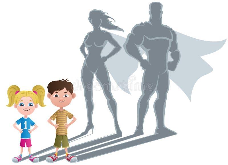 Concept 2 van jonge geitjessuperhero royalty-vrije illustratie
