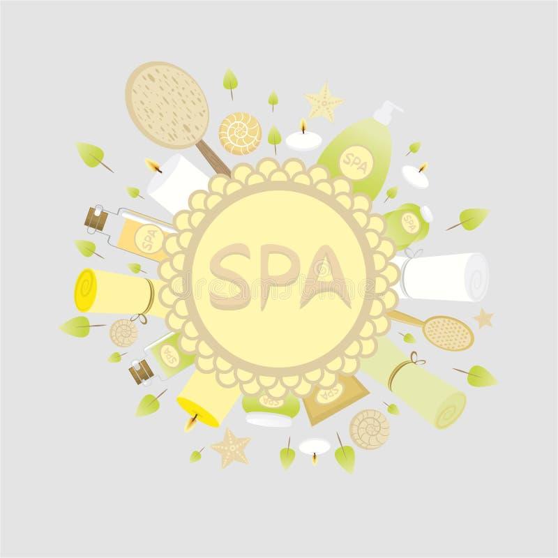Concept van kuuroord het gele lichtgroene logotype vector illustratie