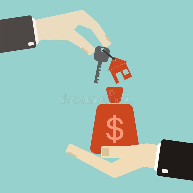 Concept 6 van onroerende goederen Handen met sleutels en geldzak exchanging royalty-vrije illustratie