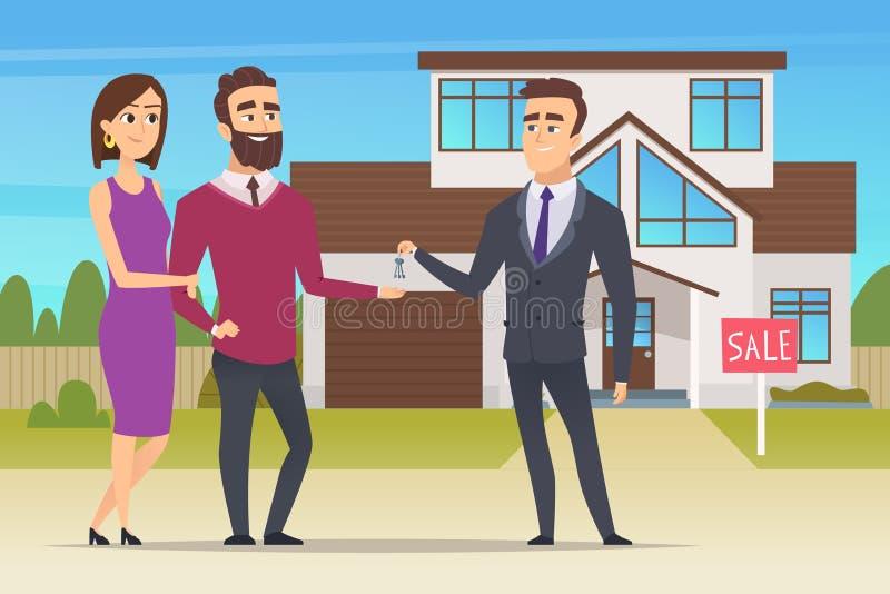 Concept 6 van onroerende goederen Het familiepaar die nieuw huis of grote flatafdelingschef kopen overhandigt de sleutelsvector vector illustratie