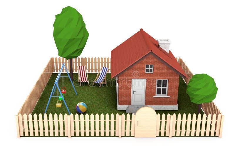 Concept 6 van onroerende goederen Plattelandshuisje met omheining en tuin 3D rende vector illustratie