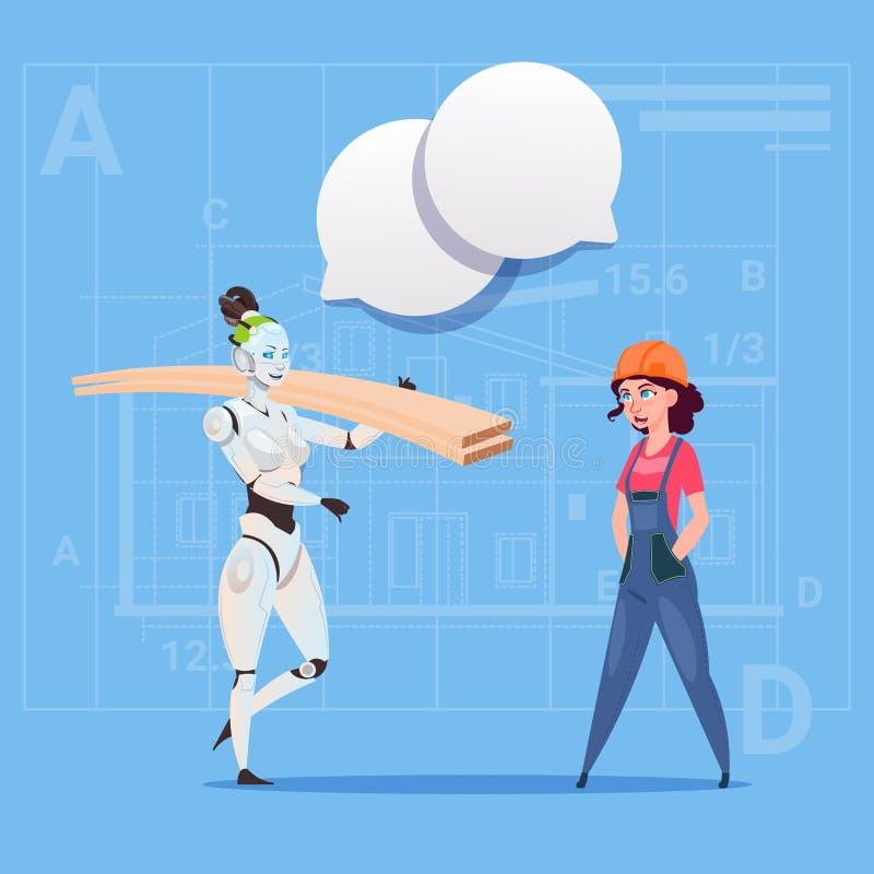 Concept van Working With Robot Carry Planks Modern Building Technology van de beeldverhaal het Vrouwelijke Bouwer vector illustratie