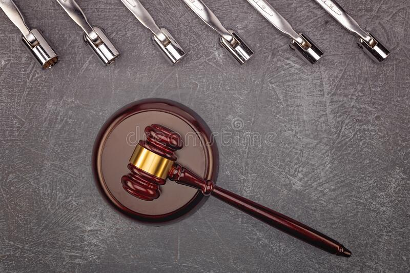 .The concept of various disputes and litigation of car services, low-quality automobile parts. The concept of various disputes and litigation of car services stock photo