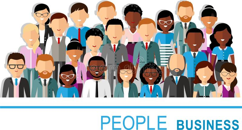 Concept of vector african american, european business peoples stock illustration