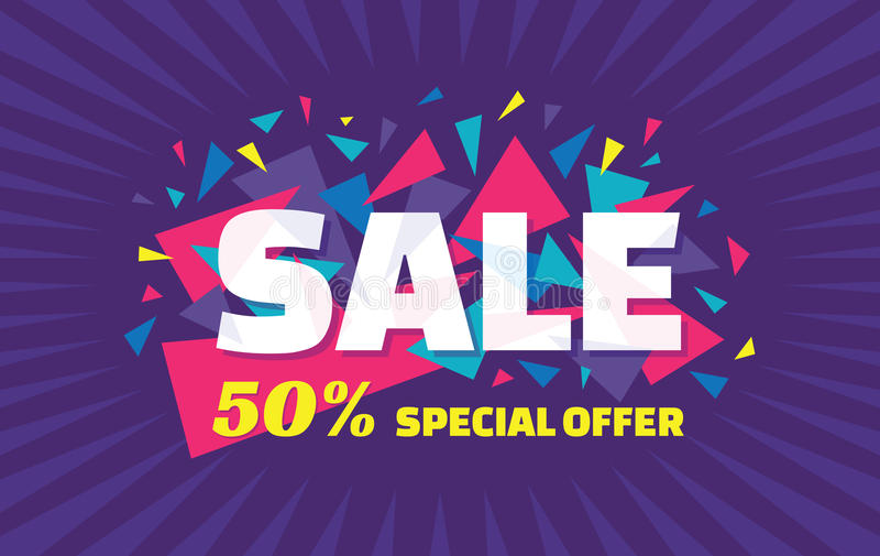 Concept vector banner - special offer - 50% sale. Sale banner with abstract triangle elements. Sale abstract background. royalty free illustration