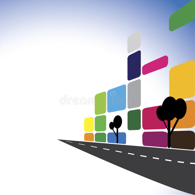 Concept vector - Colorful office buildings, apartments, skyscrapers. The graphic illustration also represents city downtown with modern roads, building, real vector illustration