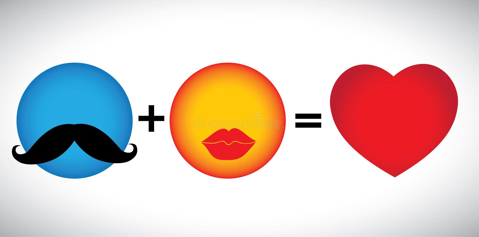 Concept vector formula of love - mustache & lips icons together. stock illustration