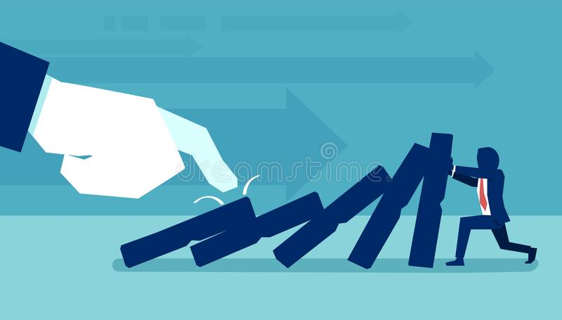 Man trying to stop falling domino. Concept vector of hand pulling domino against man trying to stop falling and preventing conflict royalty free illustration
