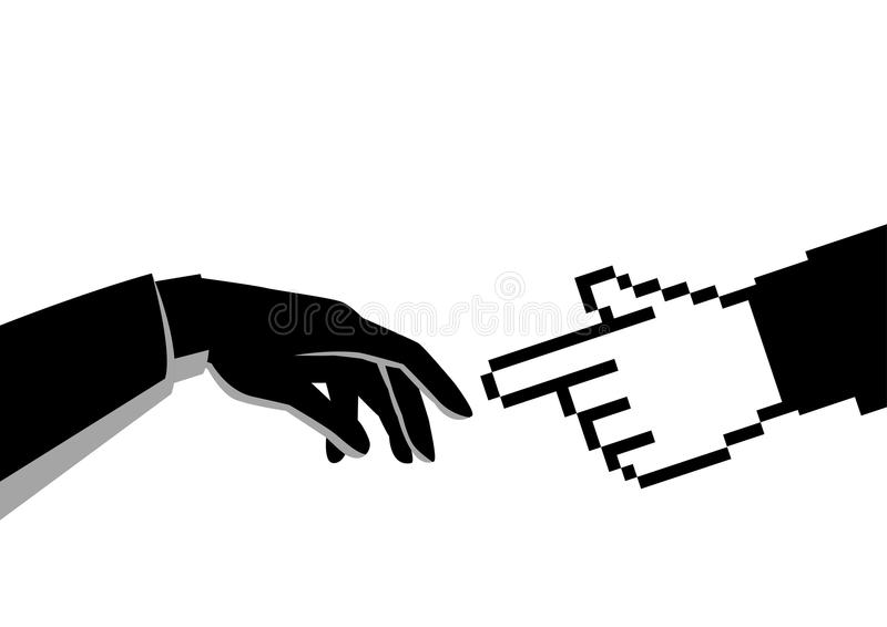 Human hand touching pixelated hand stock illustration