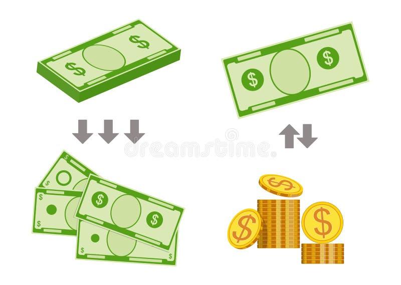 Concept veranderende rekeningen voor kleiner geld Vector illustratie vector illustratie