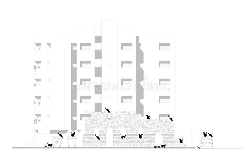Concept verandering Verlaten ruïnes van een oud gebouw tegen nieuwe flats stock illustratie