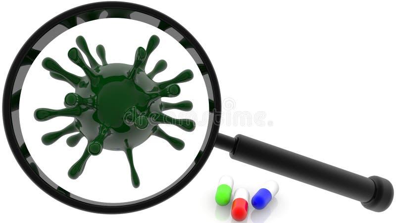 Concept Vergrootglas en virussen in groene kleur stock fotografie