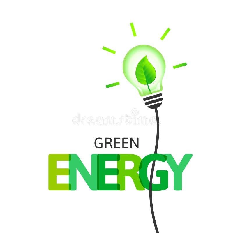 Concept vert d'énergie avec l'ampoule et la feuille illustration stock