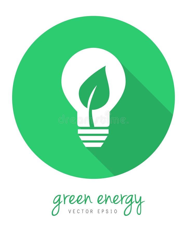 Concept vert d'énergie avec la feuille et l'ampoule illustration stock