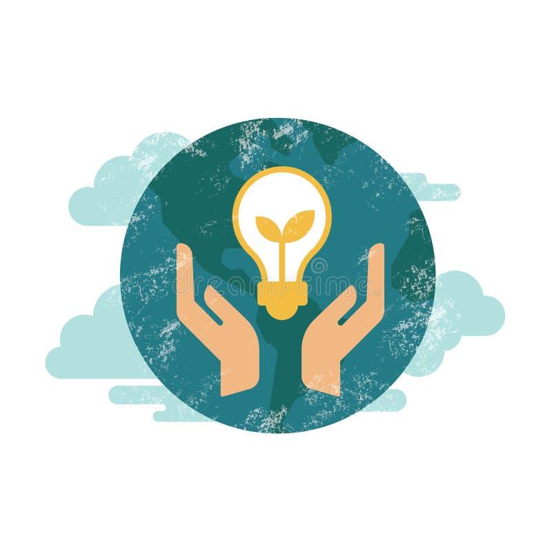 Concept vert d'énergie d'eco de vecteur, usine s'élevant à l'intérieur de la terre verte d'ampoule illustration stock