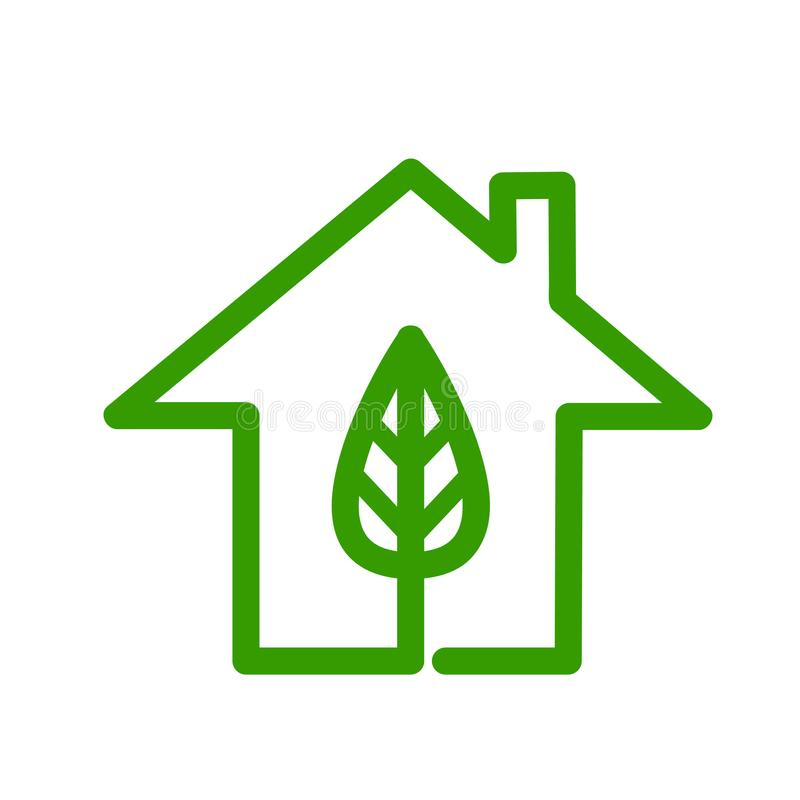 Concept vert d'énergie, logo de maison d'eco sur le blanc, illu courant de vecteur illustration de vecteur