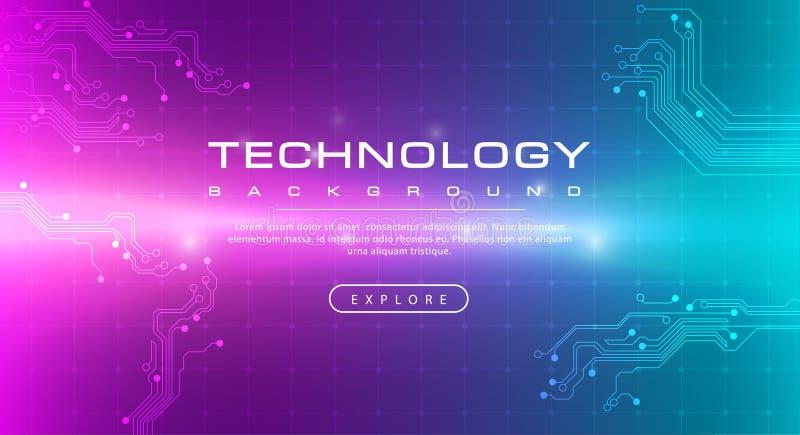 Concept vert de fond de rose de bannière de technologie avec des effets de la lumière illustration de vecteur