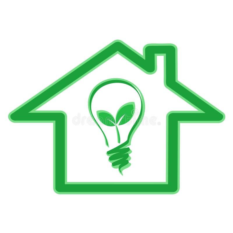 Concept vert de rendement énergétique d'eco avec l'icône de maison et les Bu de lumière illustration stock