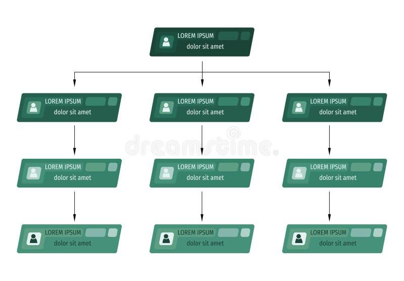 Concept vert de structure d'affaires, plan d'entreprise d'organigramme avec des icônes de personnes illustration de vecteur
