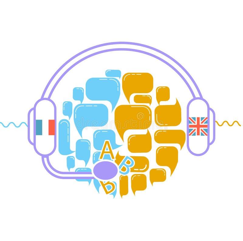 Concept vertaalhoofdtelefoons royalty-vrije illustratie