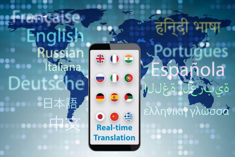 Concept vertaling in real time met 3d smartphone app - geef terug royalty-vrije stock foto