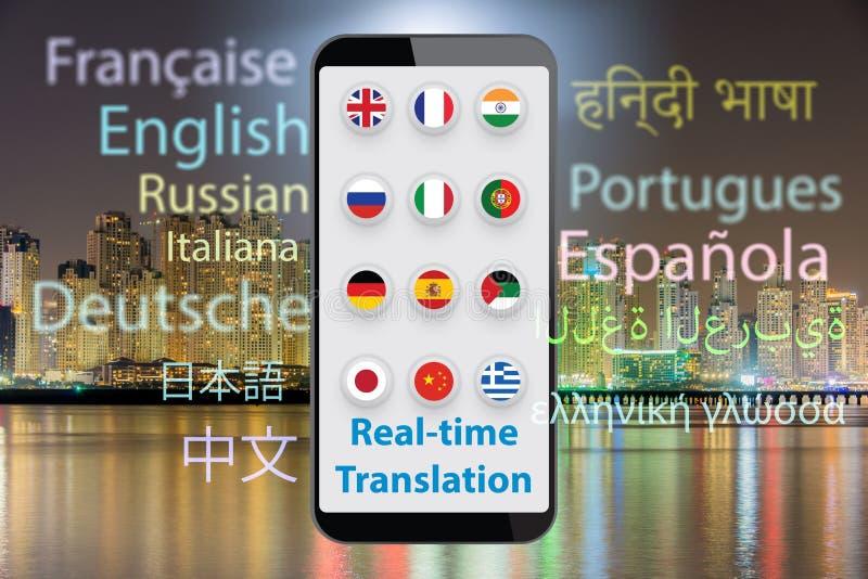 Concept vertaling in real time met 3d smartphone app - geef terug stock fotografie