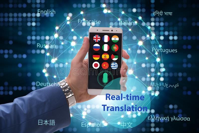 Concept vertaling in real time met smartphone app royalty-vrije stock foto