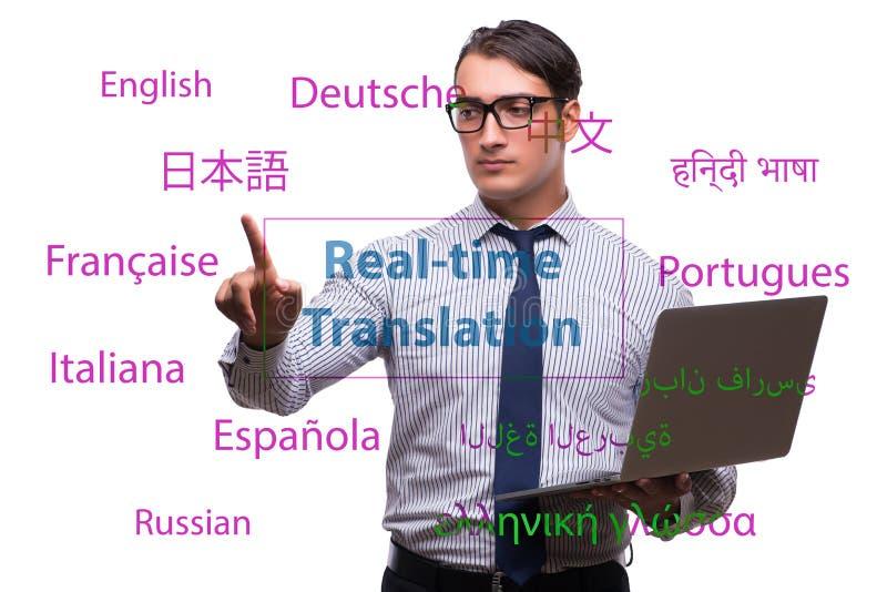 Concept vertaling in real time van vreemde taal stock afbeelding