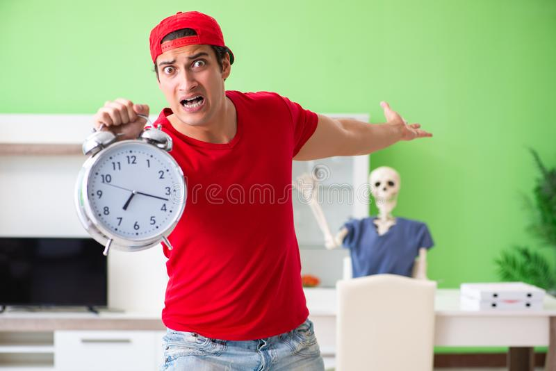 The concept of very slow pizza deliver service royalty free stock images