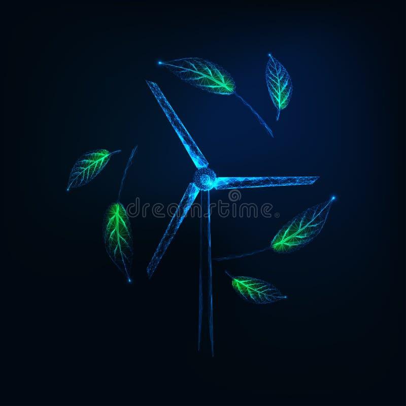 Concept viable futuriste d'?nergie avec le bas poly g?n?rateur de turbine rougeoyant de vent et les feuilles vertes illustration stock