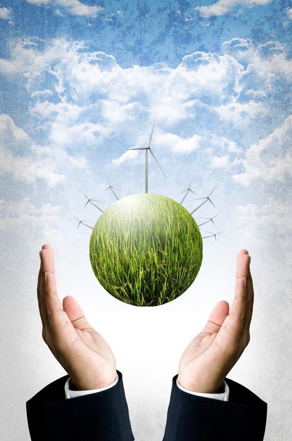 Concept viable, planète de mouche de turbine de vent plus de images libres de droits