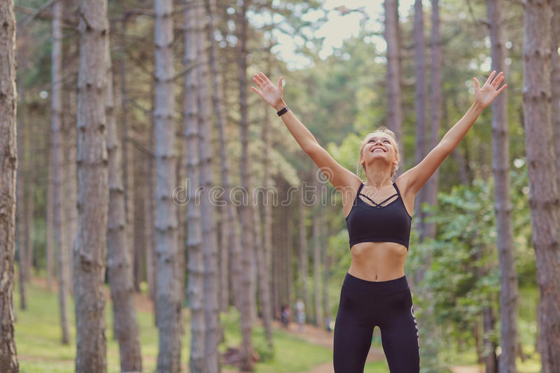 Concept of victory motivation in sports. stock photography