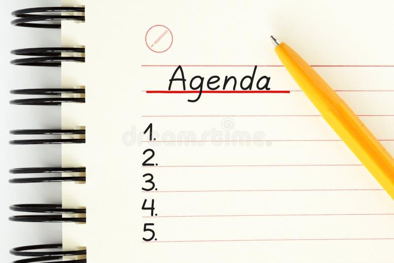 Concept vide de liste de planificateur d'ordre du jour photos libres de droits
