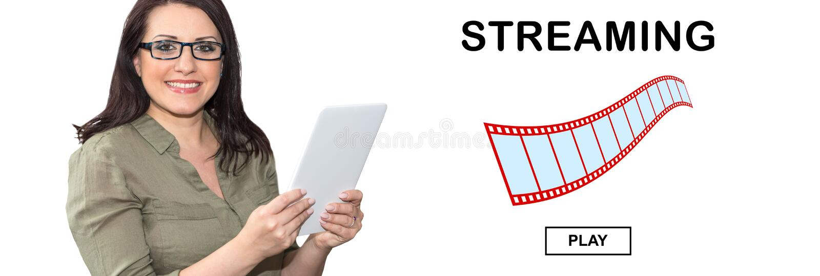 Concept of video streaming royalty free stock photography