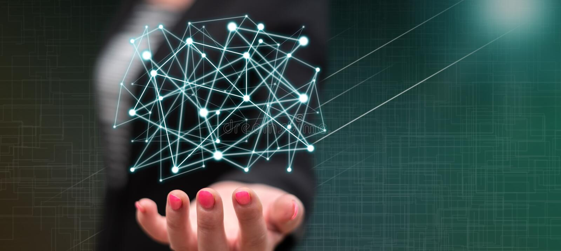 Concept virtueel netwerk stock foto