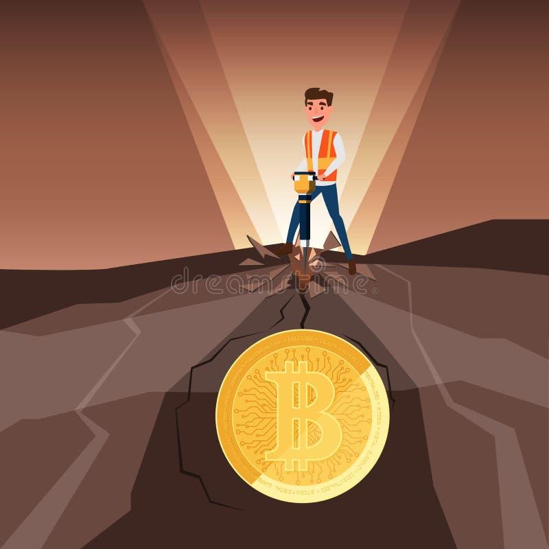 Concept virtuele bedrijfs digitale crypto mijnbouw bitcoins Zakenmanmijnbouw bitcoins van rots met jackhammer stock illustratie