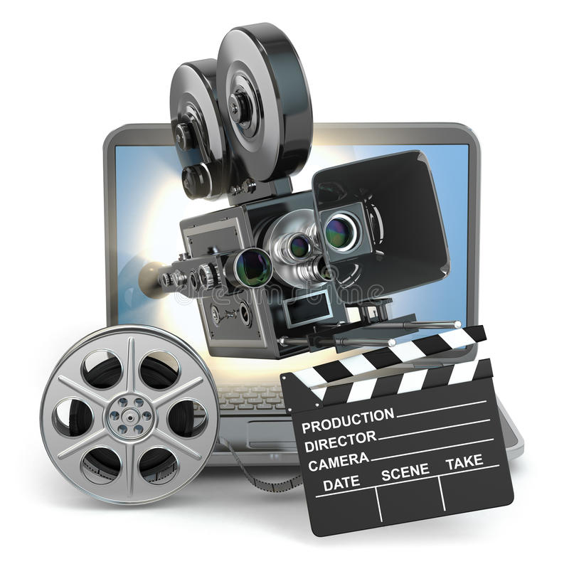 Concept visuel L'appareil-photo sur l'ordinateur portable, tournoie toujours et bardeau illustration libre de droits