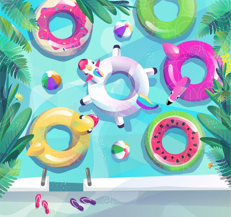 Concept in vlakke stijl De partijaffiche van het de zomerstrand royalty-vrije stock afbeeldingen