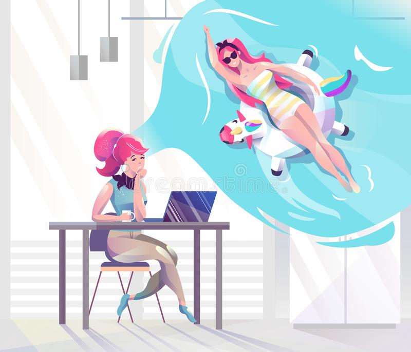 Concept in vlakke stijl met vrouw die in bureau over vakantie dromen stock fotografie