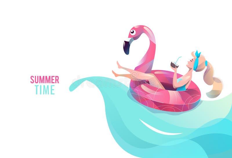 Concept in vlakke stijl met vrouw het zwemmen met cirkel royalty-vrije stock foto