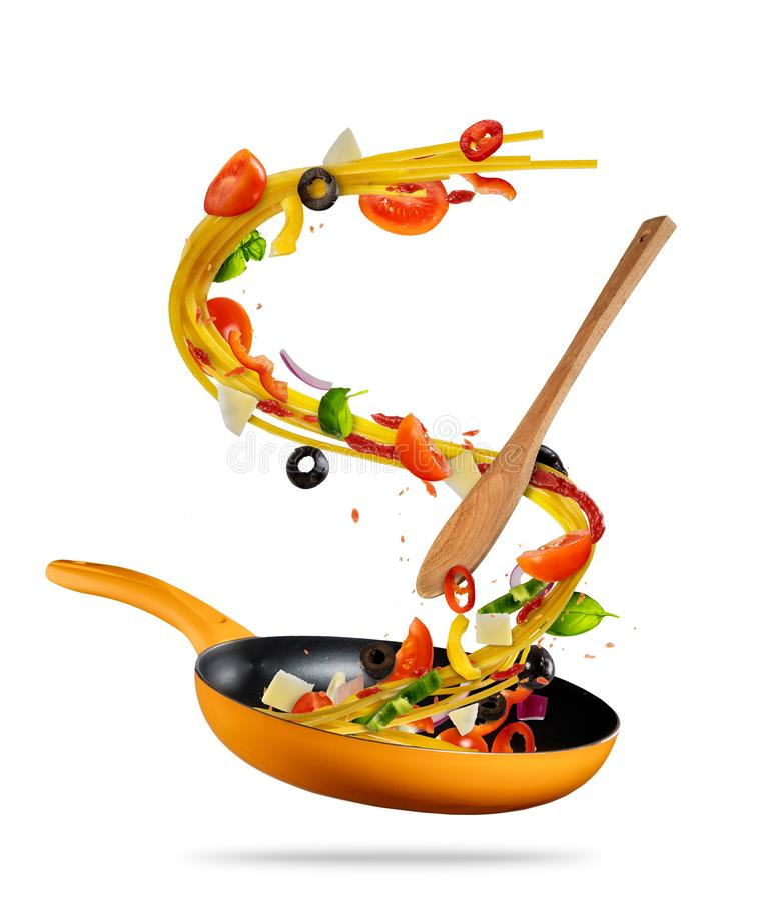 Concept vliegende voedselvoorbereiding van Italiaanse deegwaren stock afbeelding
