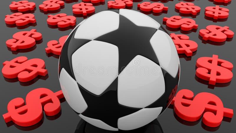 Concept voetbalbal met rode dollar rond tekens royalty-vrije stock afbeeldingen